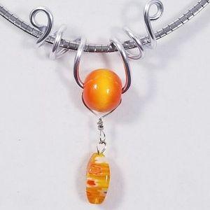 Aluminum Silver Spiral Pendant Orange Wood Bead